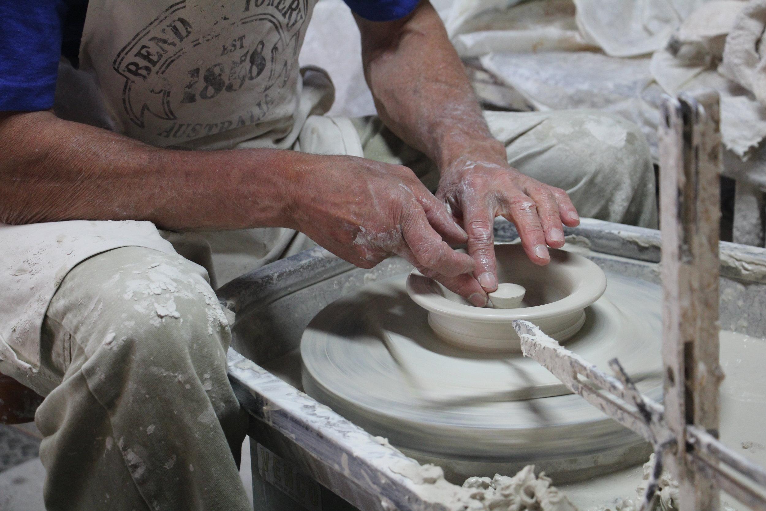 A potter on the wheel. Photo Credit: Explore Bendigo & Bendigo Tourism