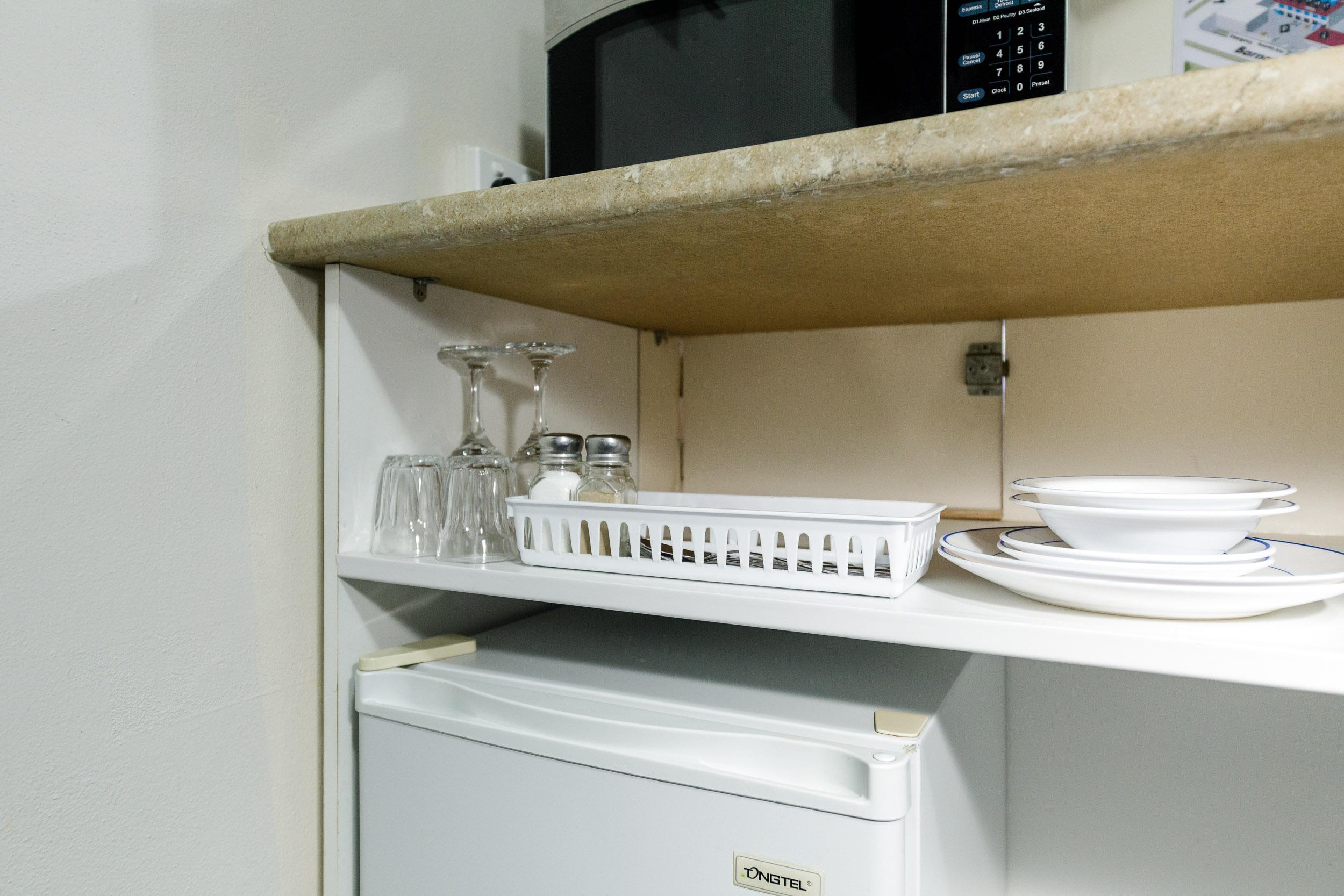 Microwave & Amenities
