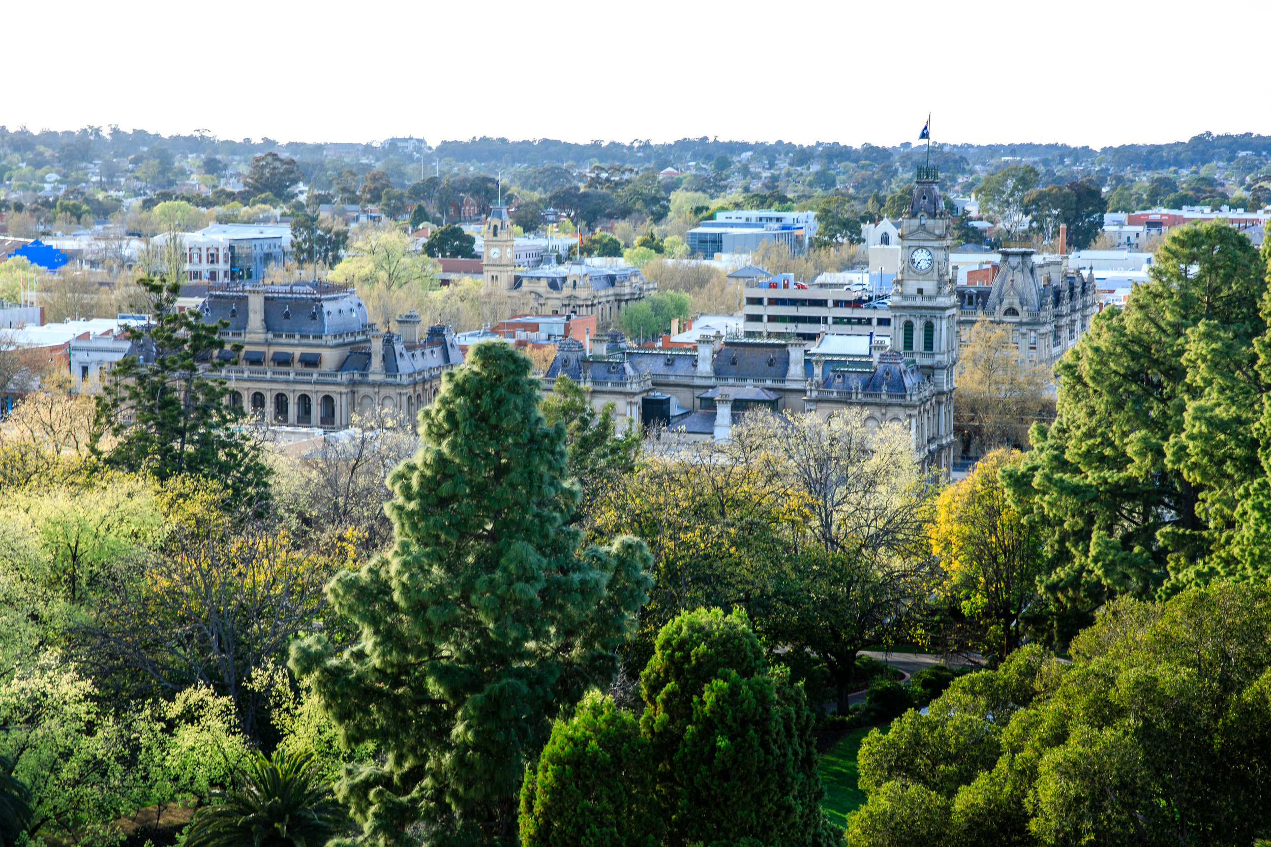 The Bendigo Law Courts, Post Office & Town hall with the beautiful Rosalind Park in the foreground. Photo Credit:  Chris Jack Photography