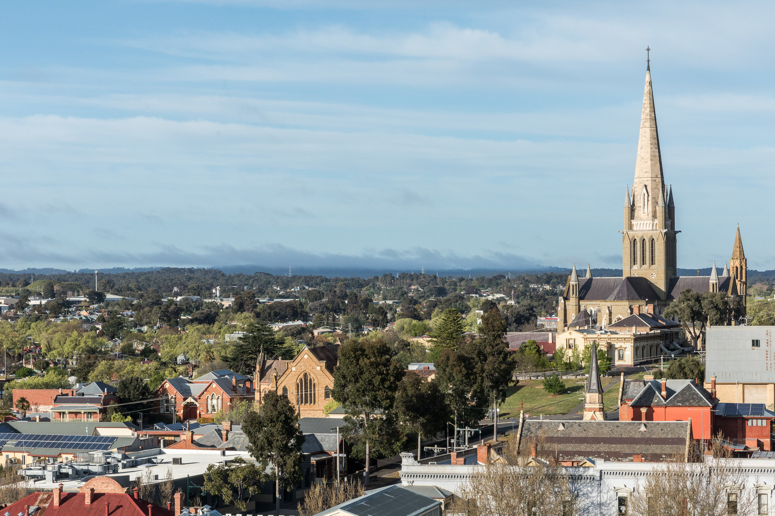 Looking across the roof of the Bendigo Art Gallery to the iconic Sacred Heart Cathedral. Photo Credit:  Chris Jack Photography