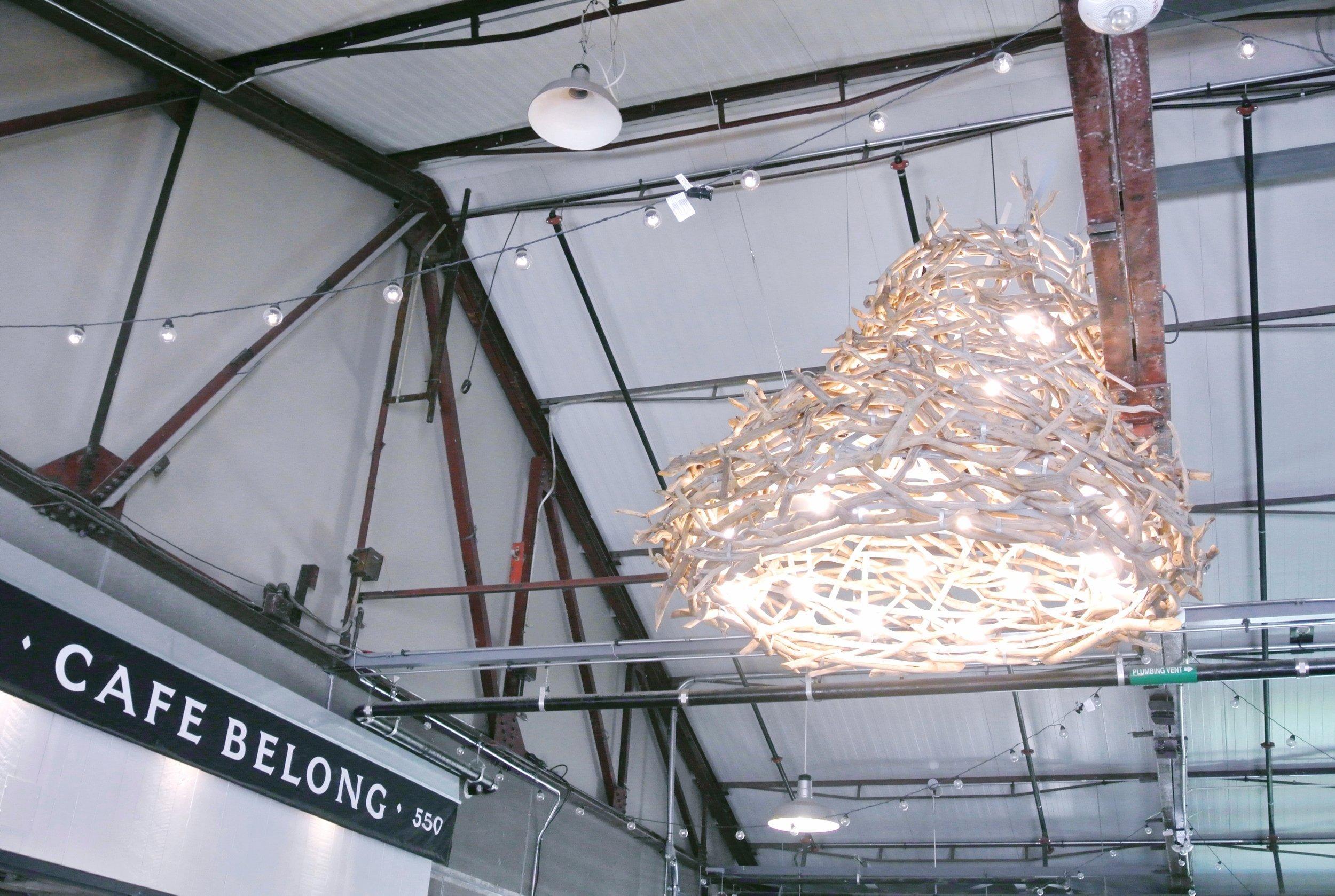 The bird's nest light outside of the  Café Belong  entrance | ebbony&lune