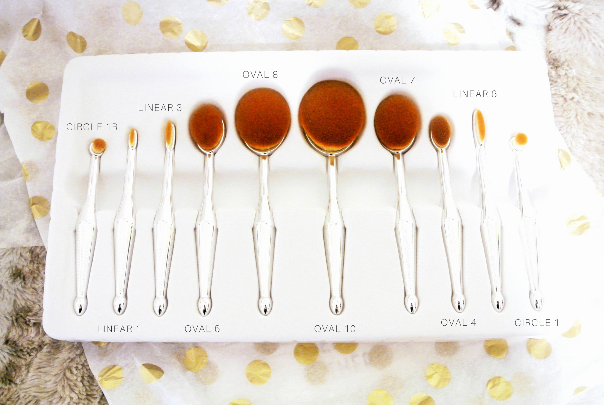 Oval Makeup Brushes w. Names | ebbony&lune