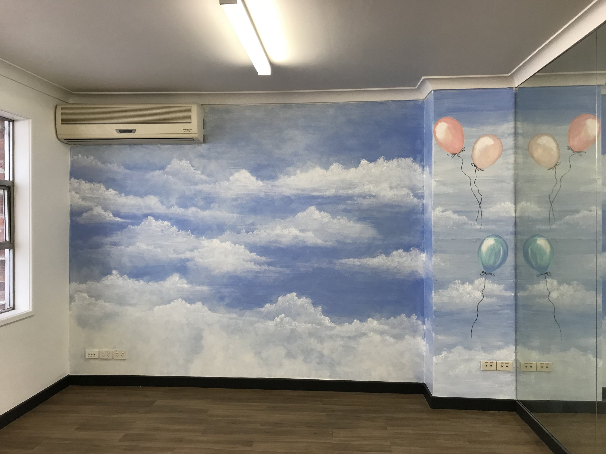 'Dreamy Clouds' to get the imagination firing and keep the mood calm. (Gym creche)