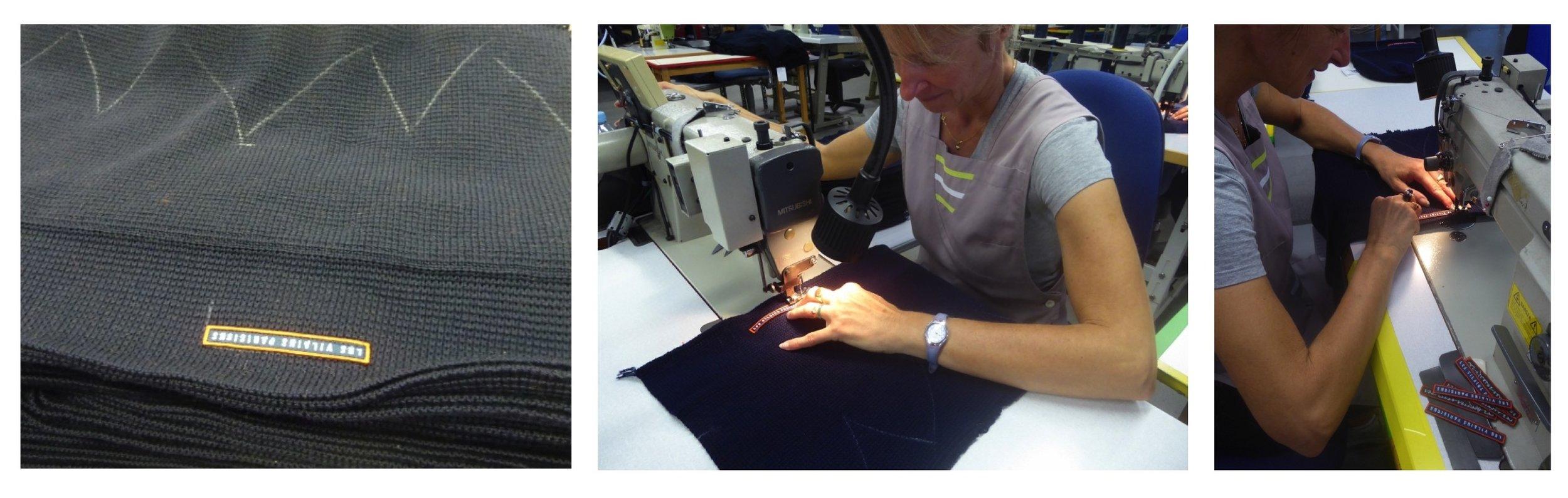 Sylvie entrain de coudre nos écussons sur les bonnets en laine merinos tricotés en France