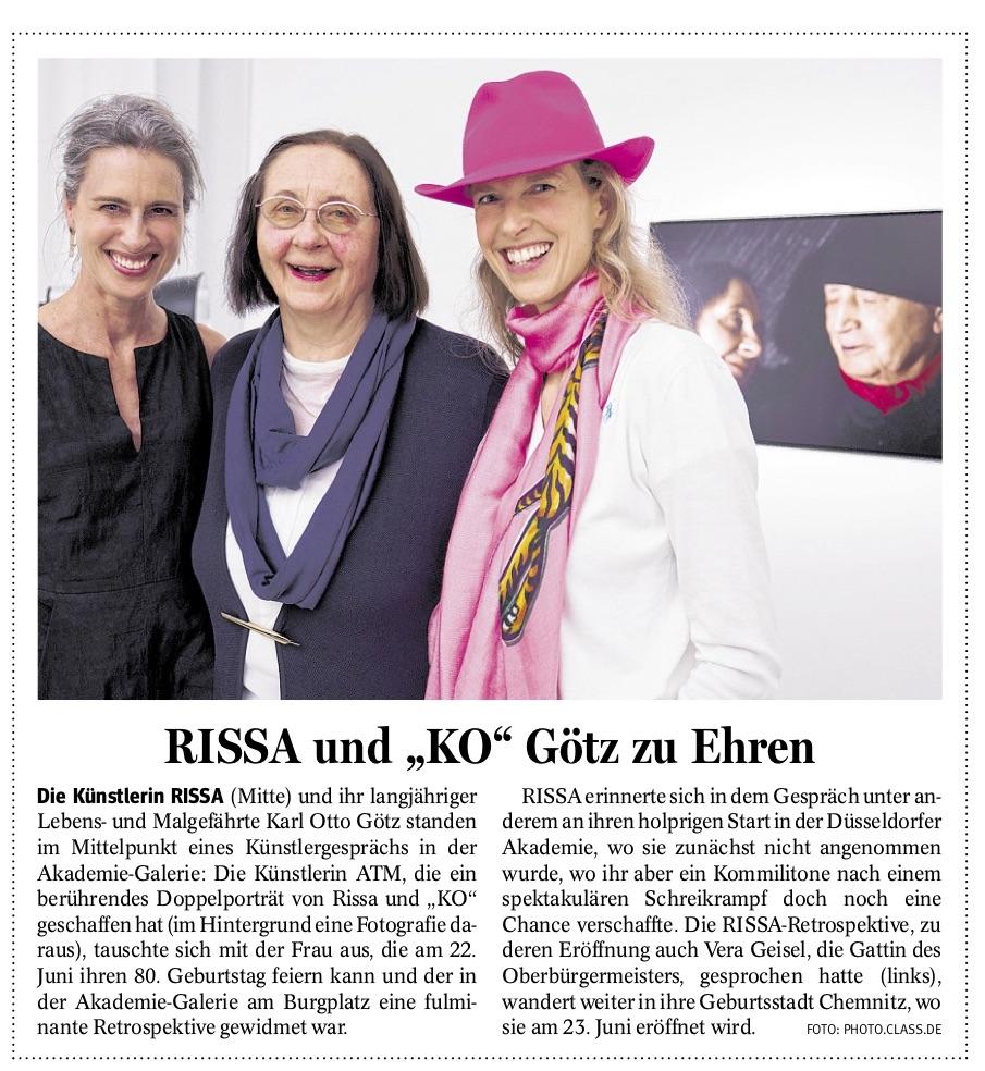 Bericht in der NRZ vom 18. Juni 2018 über die Veranstaltung der Gesellschaft von Freunden und Förderern der Kunstakademie am 5. Juni 2018.