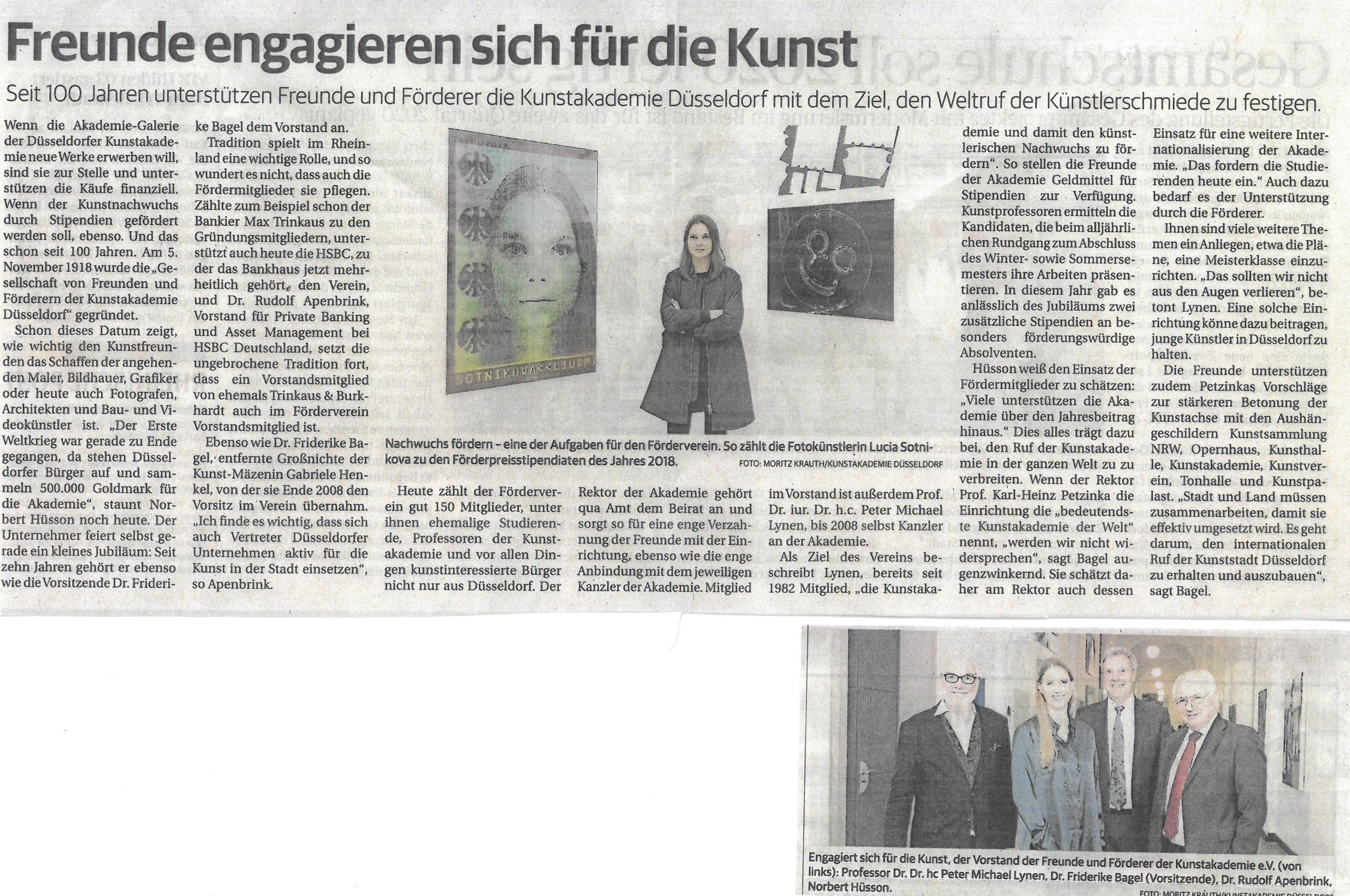Rheinische Post am 03.11.2018 anläßlich des 100 jährigen Jubiläums. (Foto unten rechts in der RP: Moritz Krauth Kunstakademie Düsseldorf)