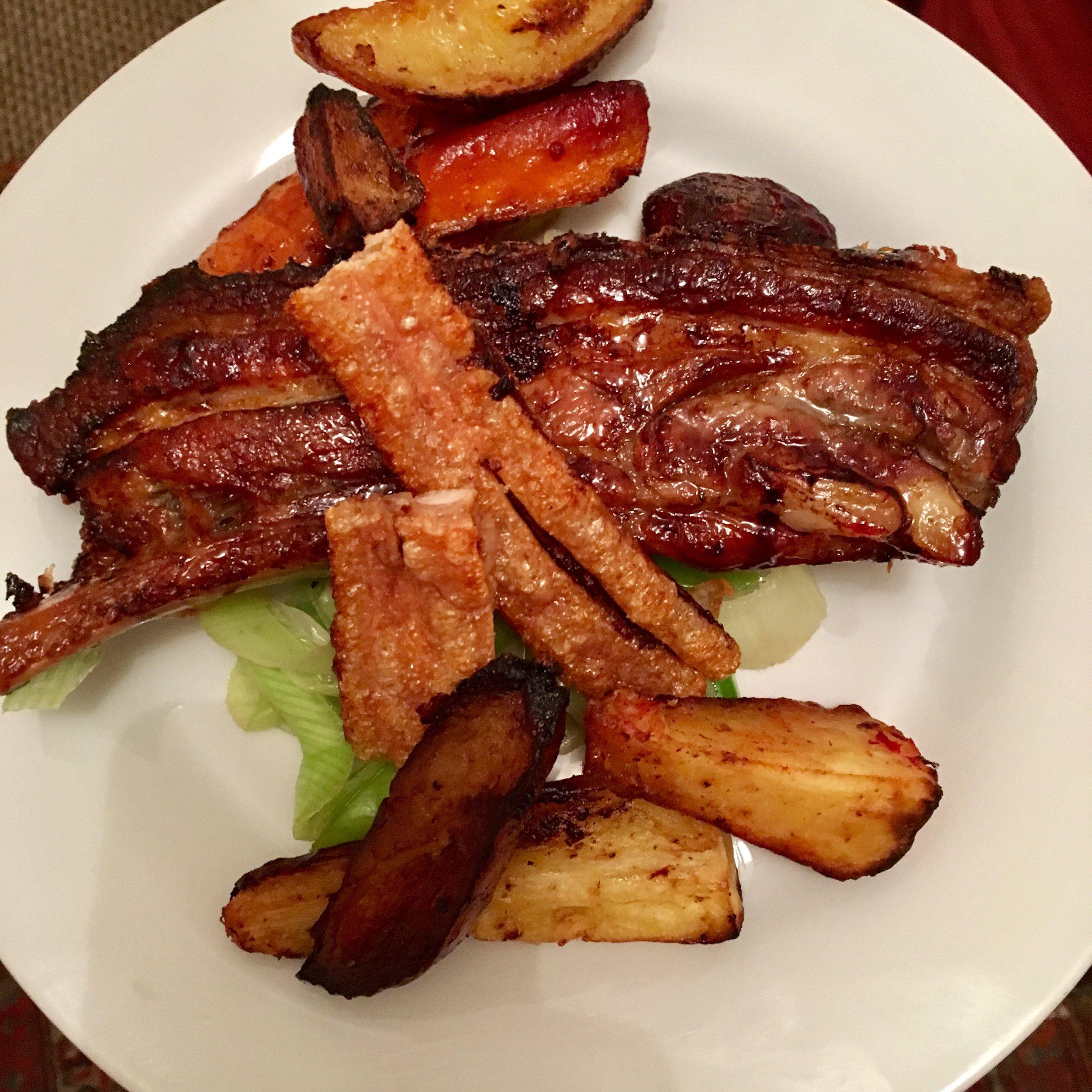 Honey glazed Pork belly with roasted root veg.jpg