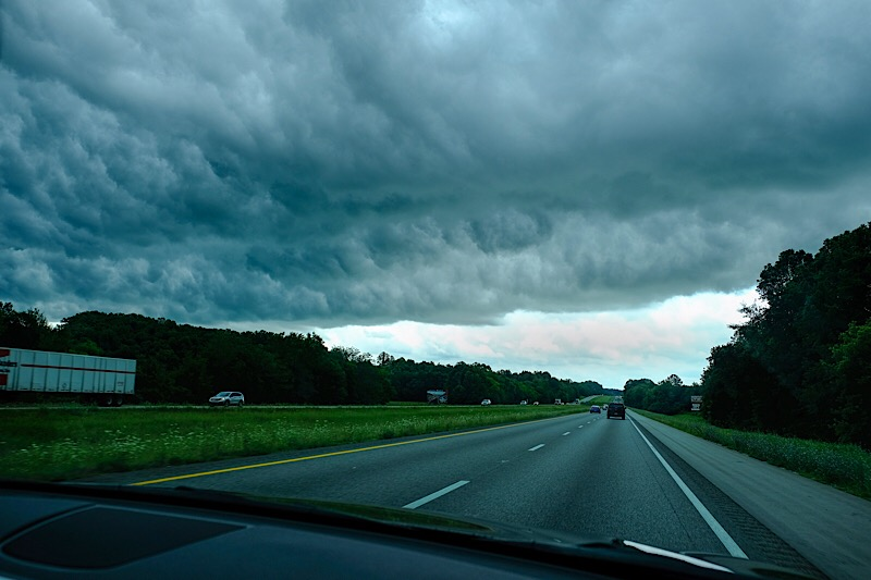 Heading out of the storm.