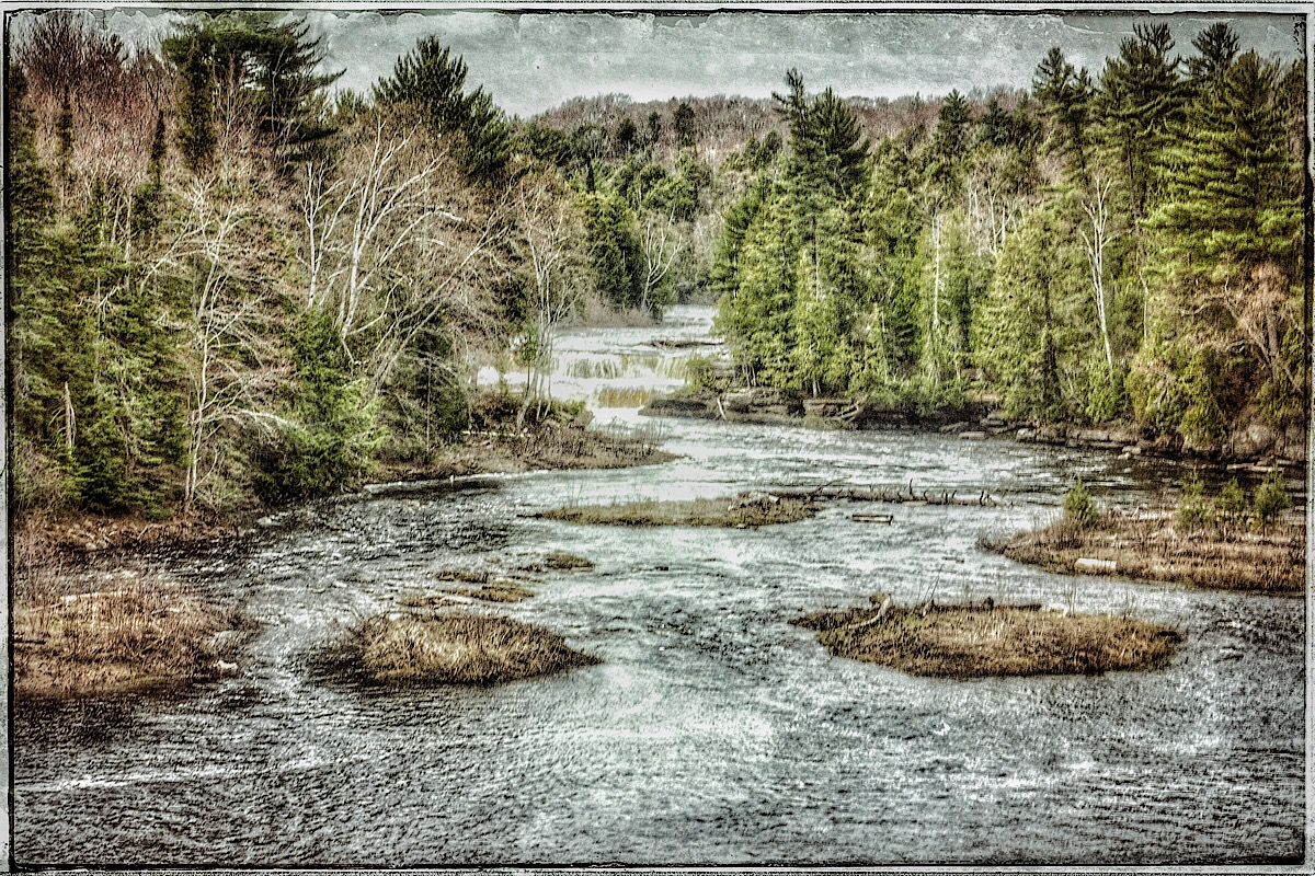 Another set of falls on the Tahquamenon River, modified original. (click to enlarge)