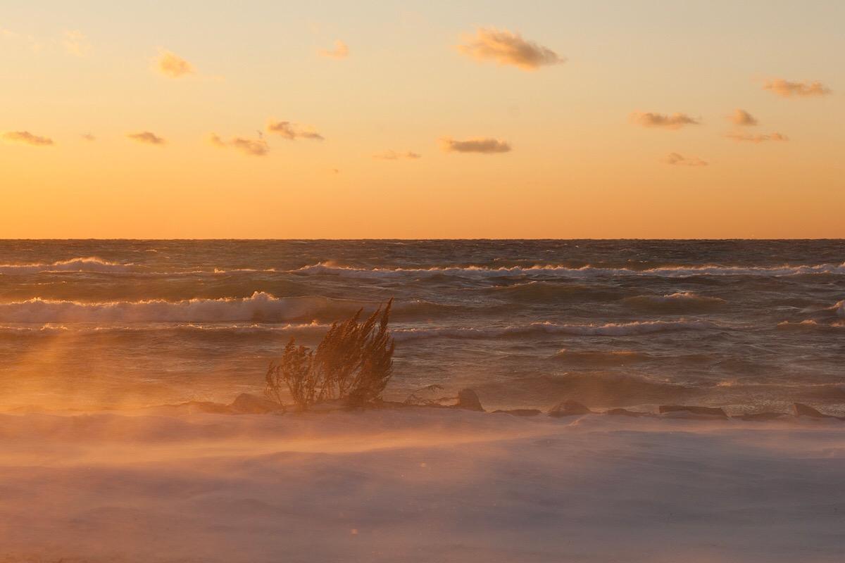 BEFORE: A winter gale on Lake Michigan at sunset, Sleeping Bear Dunes National Lakeshore, Feburary 2006. (click to enlarge)