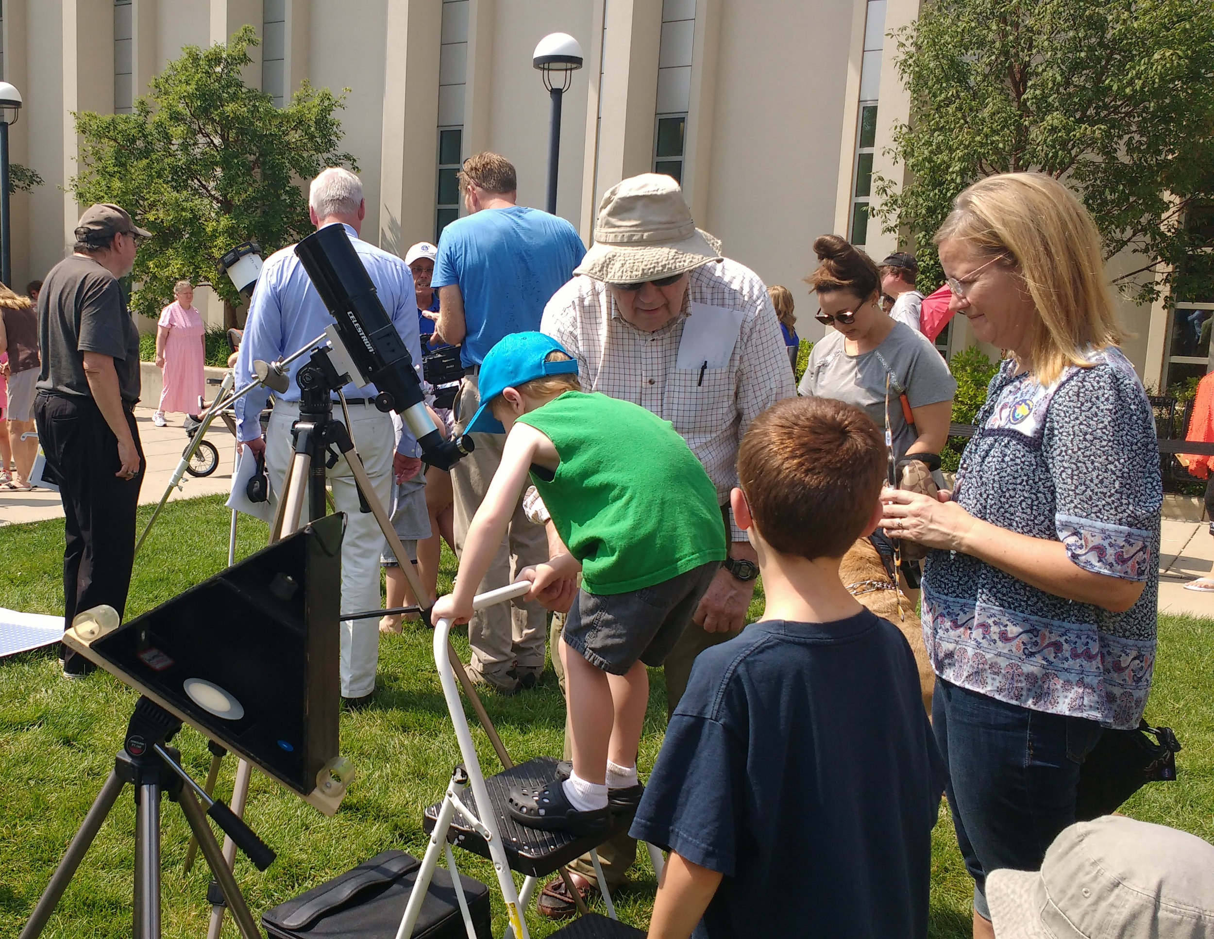 During the 2017 total solar eclipse, FWAS volunteers shared their expertise and telescopes with the public at the downtown ACPL library.