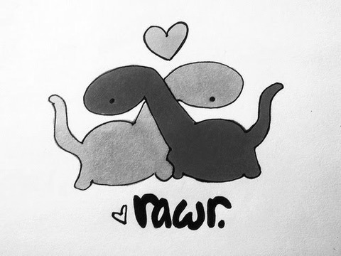 """Image description: A cartoon of two brontosauruses with their necks crossed and front feet and chests pushed together, as though they are hugging. There's a cartoon heart above them and another below them, with the caption """"rawr."""""""