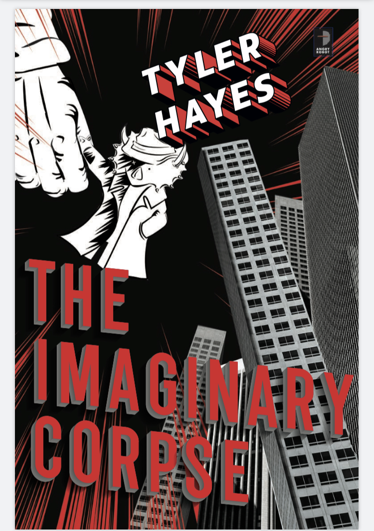 Image description: The cover of  The Imaginary Corpse : A stuffed triceratops with one eye missing, wearing a trenchcoat and a fedora, clinging to a human hand. Skyscrapers crossing each other at various angles appear in the background, over a black sky shot through with red.