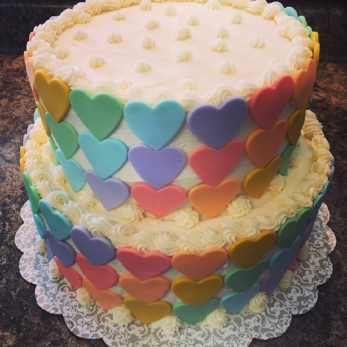 Rainbow heart birthday cake