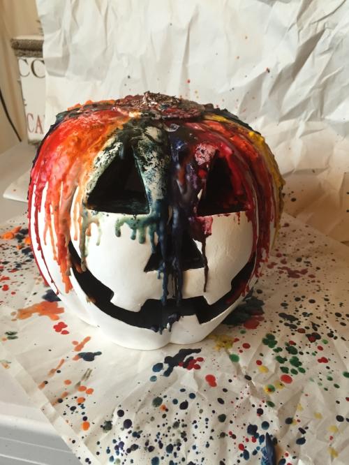 Rainbow wax jack-o-lantern