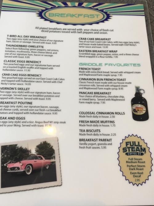 Vernon's menu