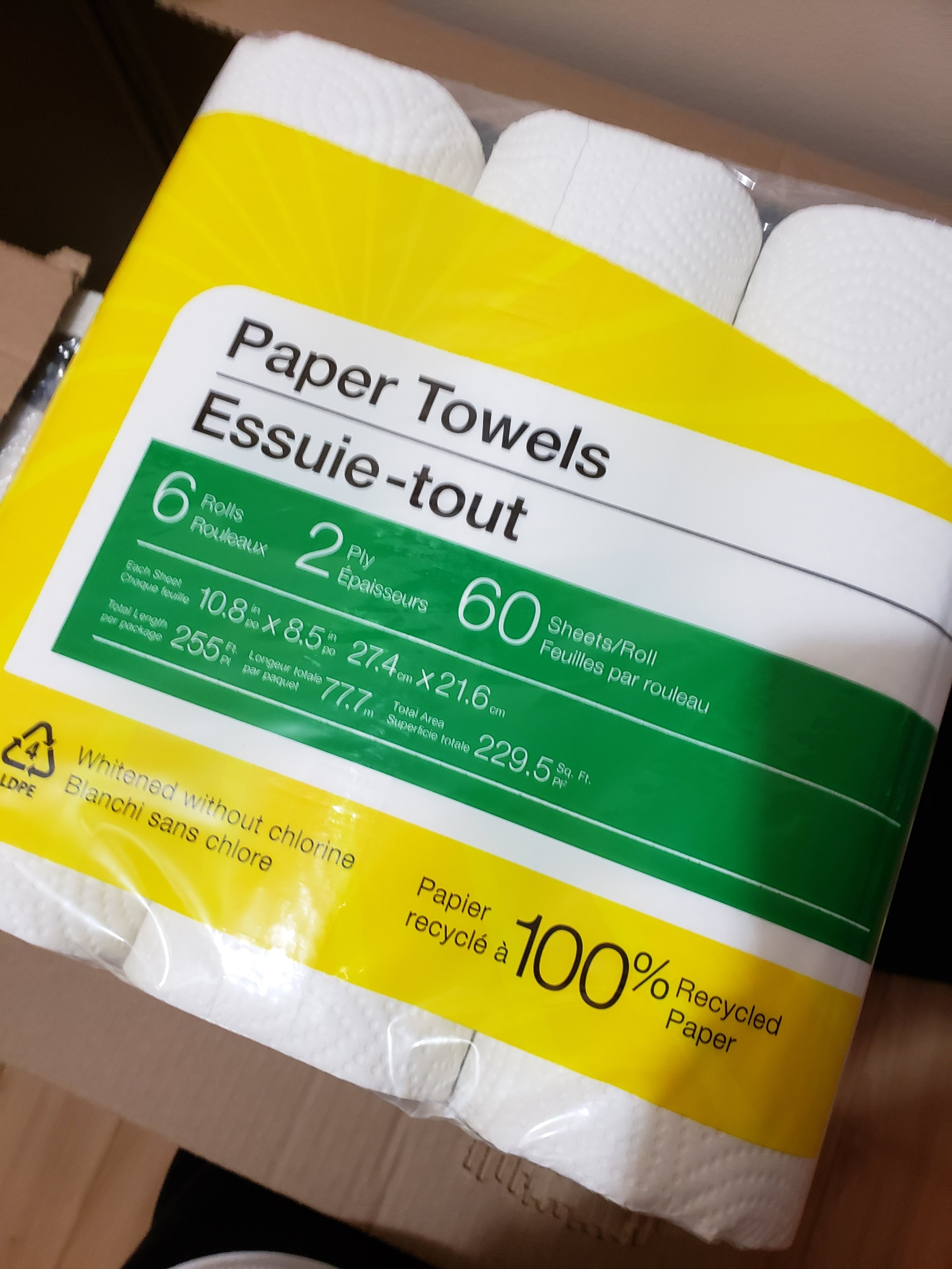 100% recycled paper towel