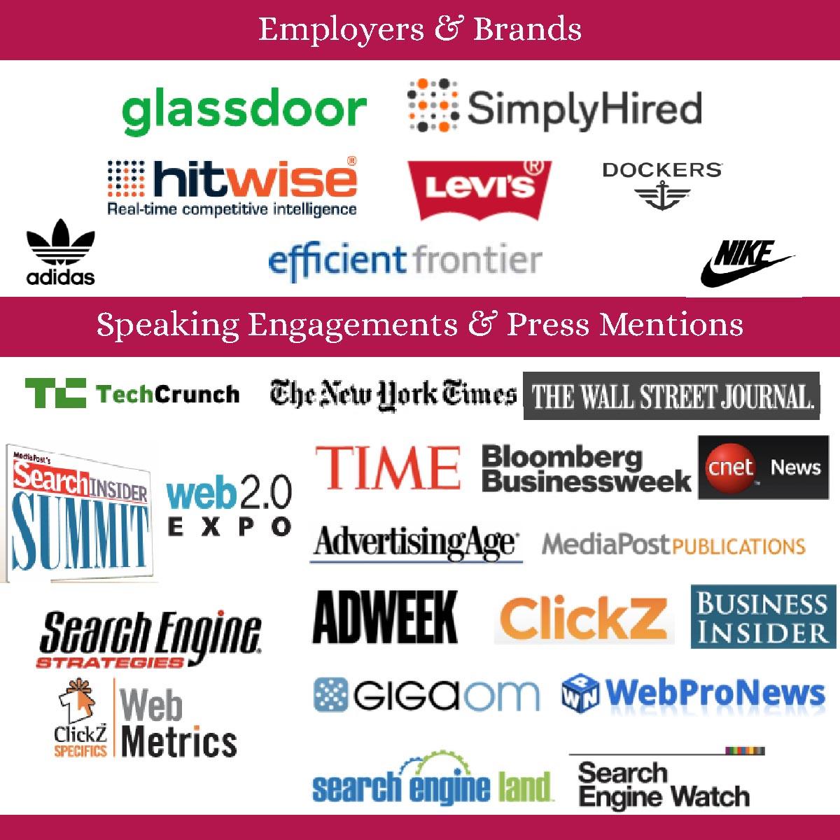 Companies I've worked for, conferences I've spoken at, press outlets I've been mentioned in.