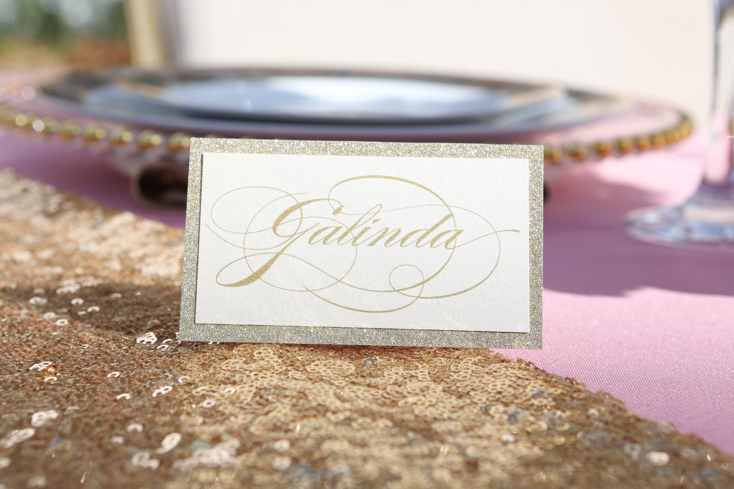 Gold Glitter Escort Card