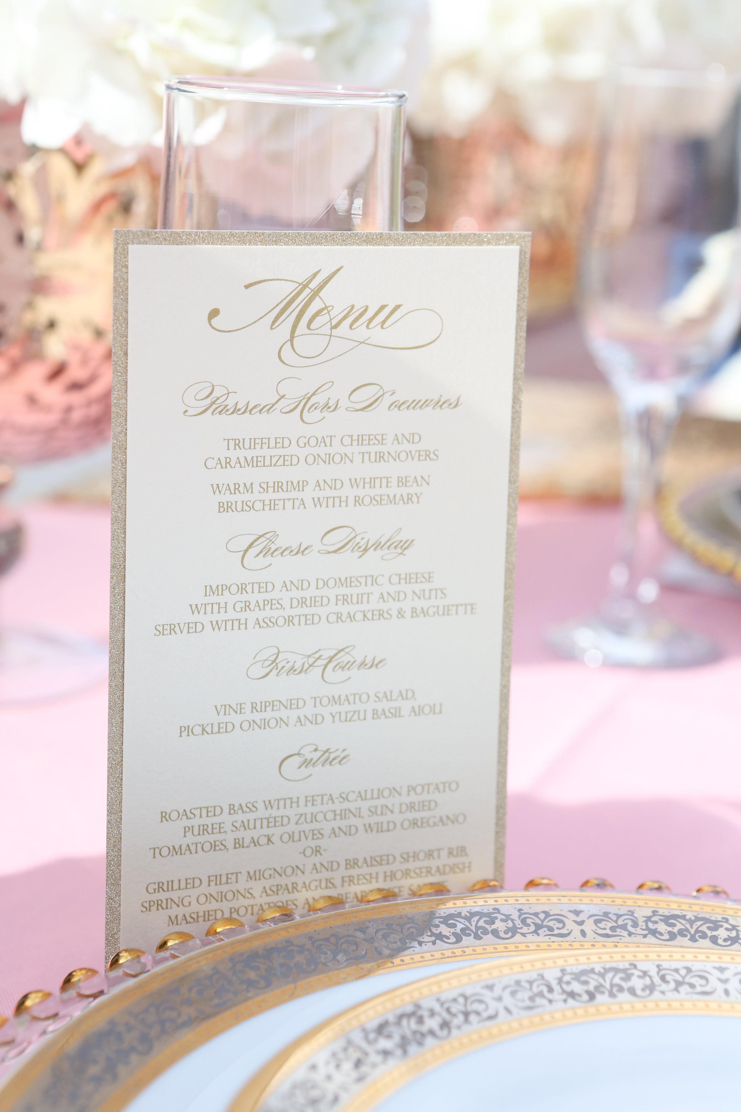 Gold Glitter Wedding Menu