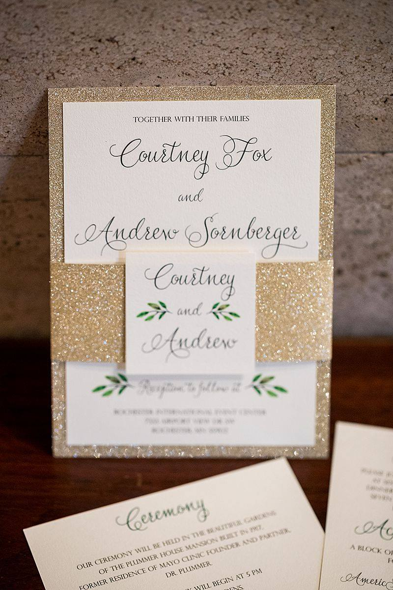 Gold Glitter and Greenery Wedding Invitations