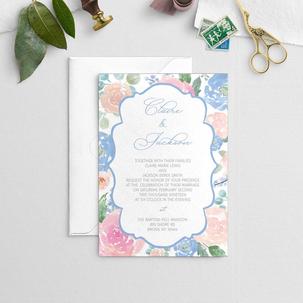 blush and light blue floral with ornate frame wedding invitation digital download cz invitations cz invitations