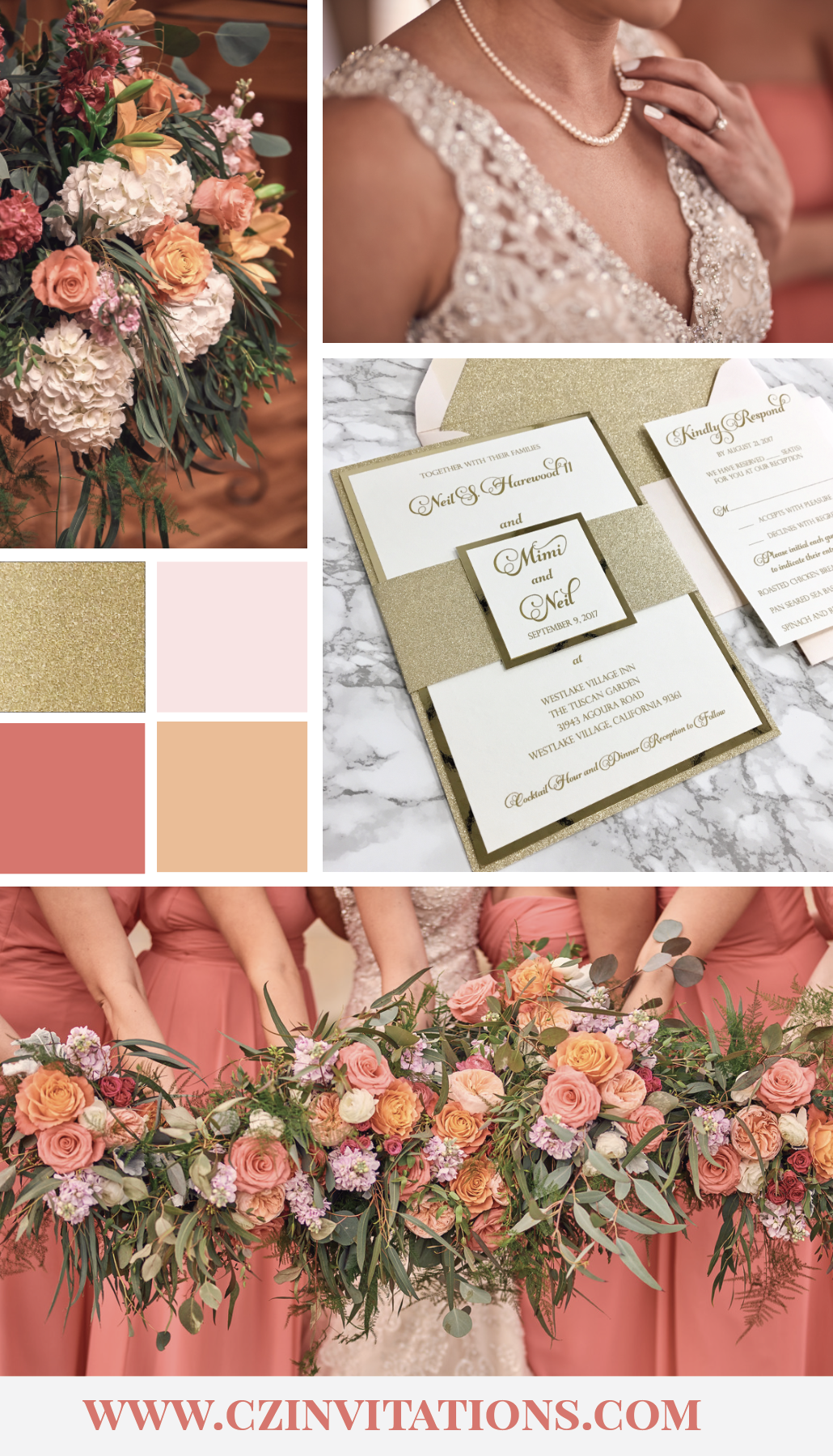 Blush, Peach and Coral are a bright and dreamy color scheme for a perfect Spring or Summer wedding! This color palette features Gold Glitter for extra shine and sparkle!