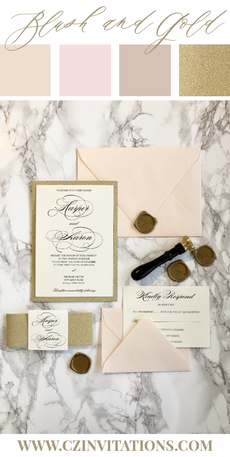 Blush is a classic, versatile shade that can be paired with a variety of colors for the perfect wedding! This set is shown with sparkly Gold Glitter and a unique wax seal for your best day ever!