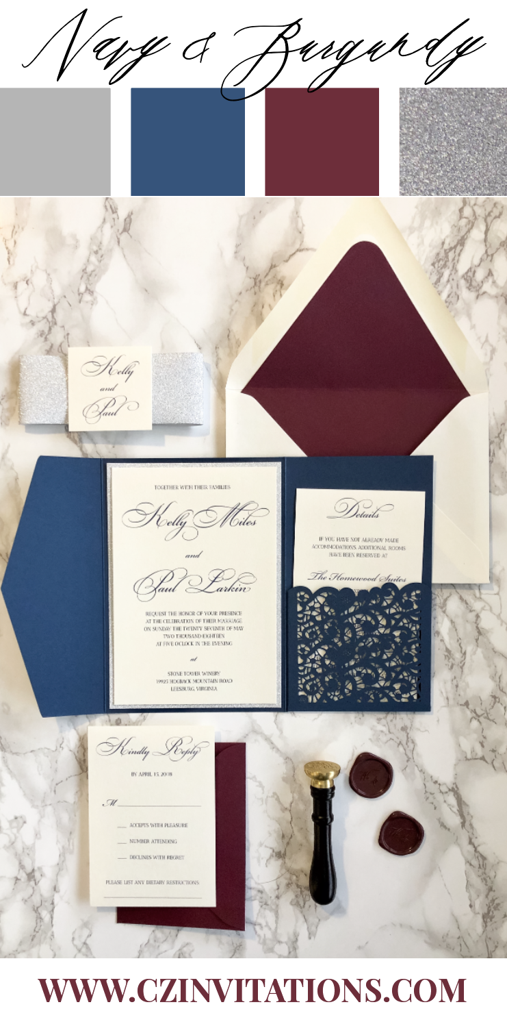 Navy, Burgundy and Silver make a stunning color combination, perfect for a Fall or Winter wedding! The Navy and Burgundy colors complement each other while the silver glitter adds sparkle and shine for a classic look!