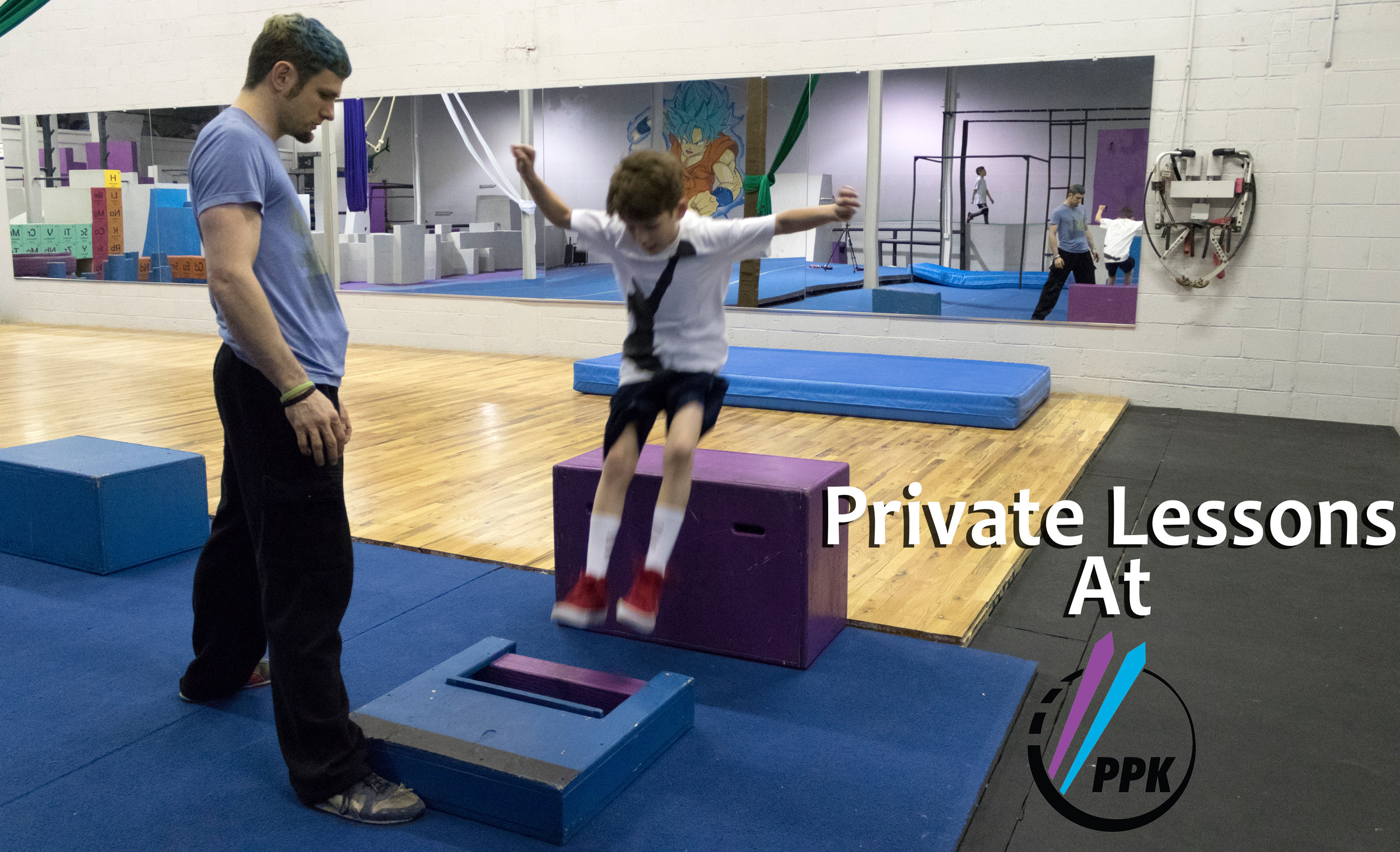 Private Lessons - Need some more one on one time after normal classes are over? Need some help perfecting the technique of a particular move? Maybe just want to learn a specific set of skills for an upcoming event? Get some 1 on 1 time with our professional instructors! Our private lessons are made to give our students the unique critiques and attention particular to each individual to help them excel in their training.Have a skill you wanna learn that we don't have on our site? Give us a call, or shoot us an email and ask if we can teach that discipline! Odds are pretty good we have a coach that can handle nearly any movement discipline! Some examples: Tumbling, Tricking, Juggling, and many others!