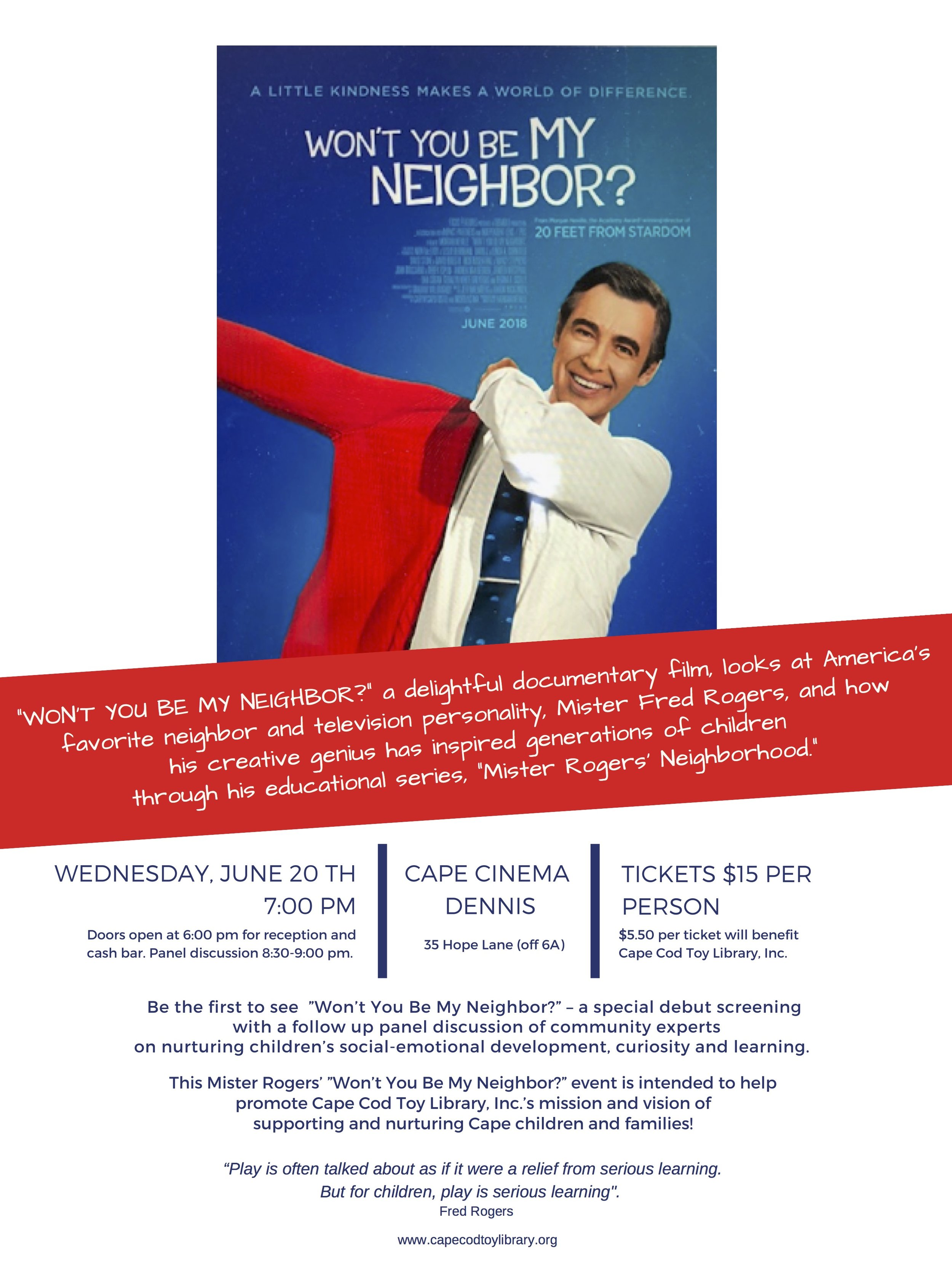 Won T You Be My Neighbor Movie Night Cape Cod Toy Library