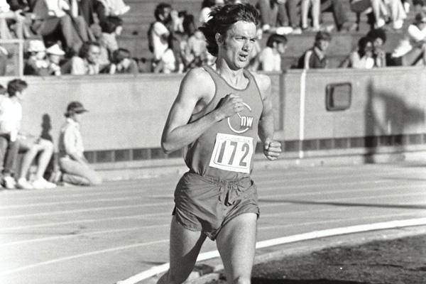 Don Kardong, former President of Club Northwest and fourth-place finisher in the 1976 Olympic Marathon, racing in a Club singlet.
