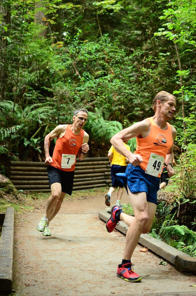 Club members Joe Bisignano and Carl Winter compete at the Redmond Watershed 5 mile trail race in 2015, placing second and first overall!