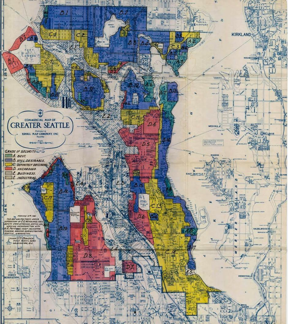 Original zoning map delineating the red-lined areas.