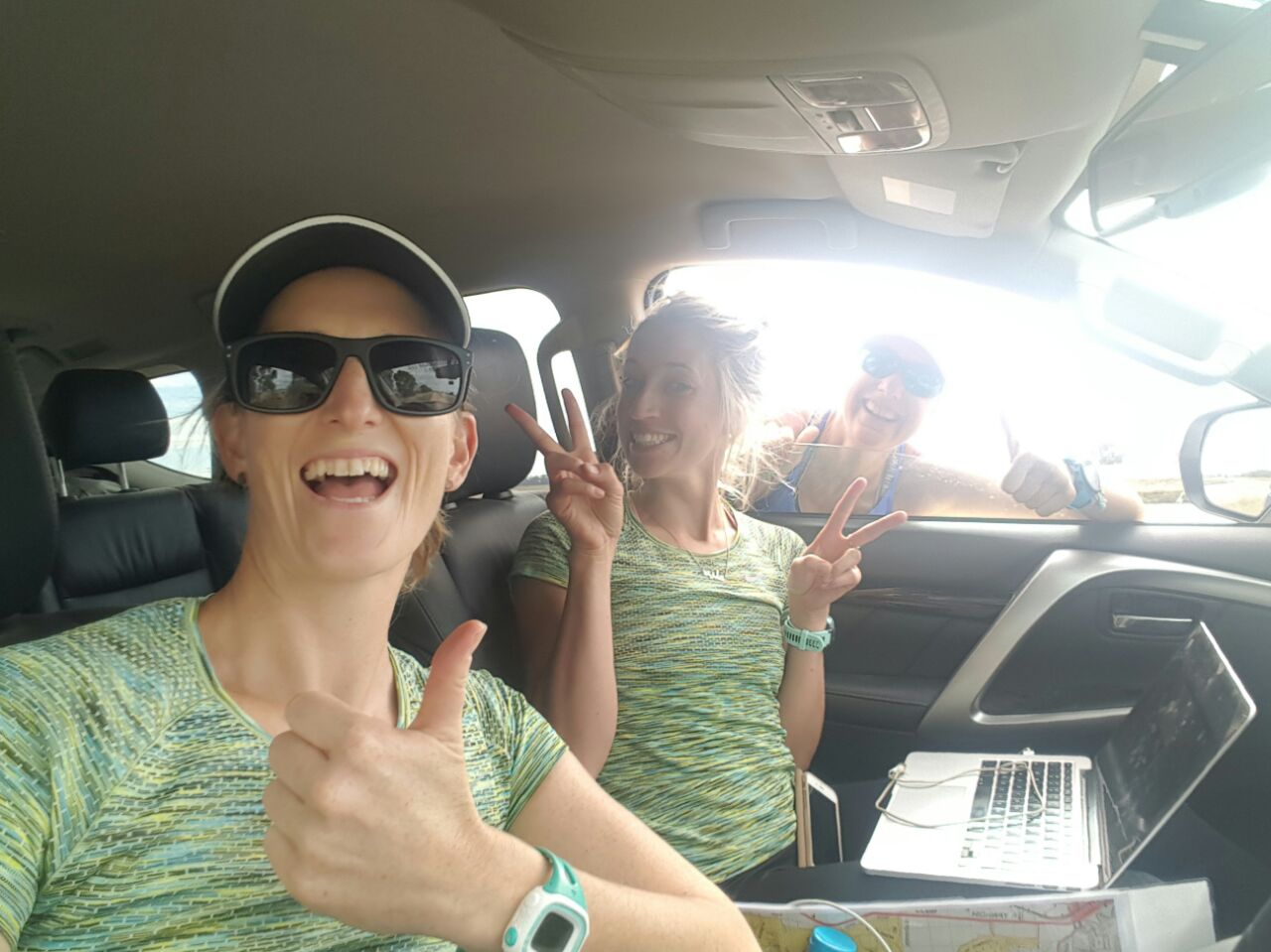 Working in the support car.