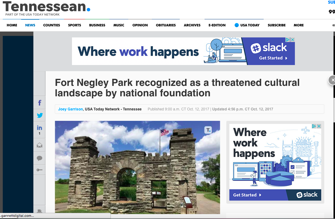 Tennessean Article 10/12/2017 Fort Negley Park recognized as a threatened cultural landscape by national foundation