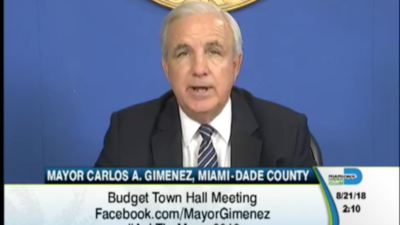Miami-Dade County Mayor, Carlos Gimenez, hosting a  town hall meeting about the budget on Facebook