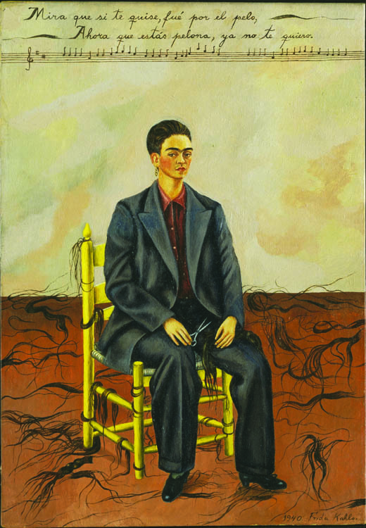 """Frida Kahlo's """"Self Portrait with Cropped Hair."""""""