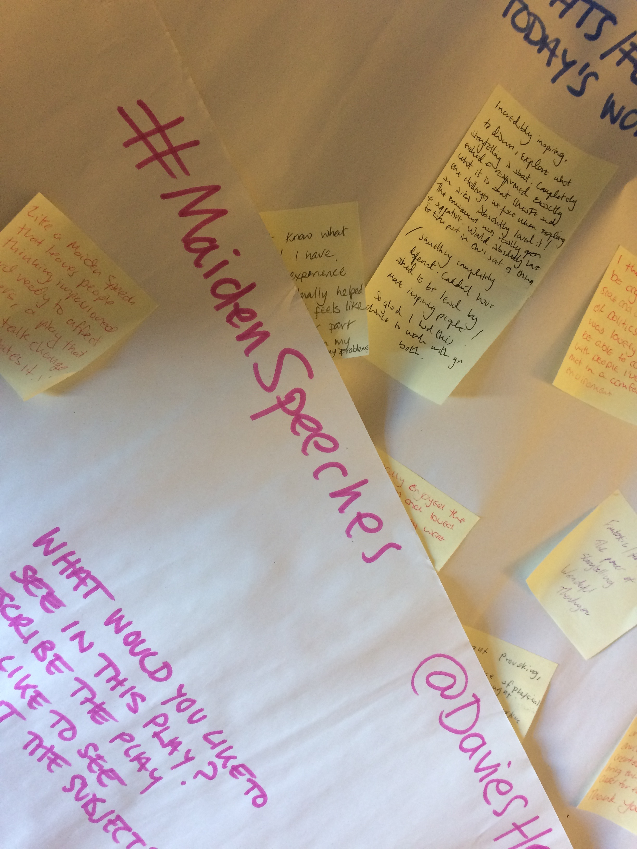 Some of the responses to questions posed in our workshop at York Theatre Royal in October.