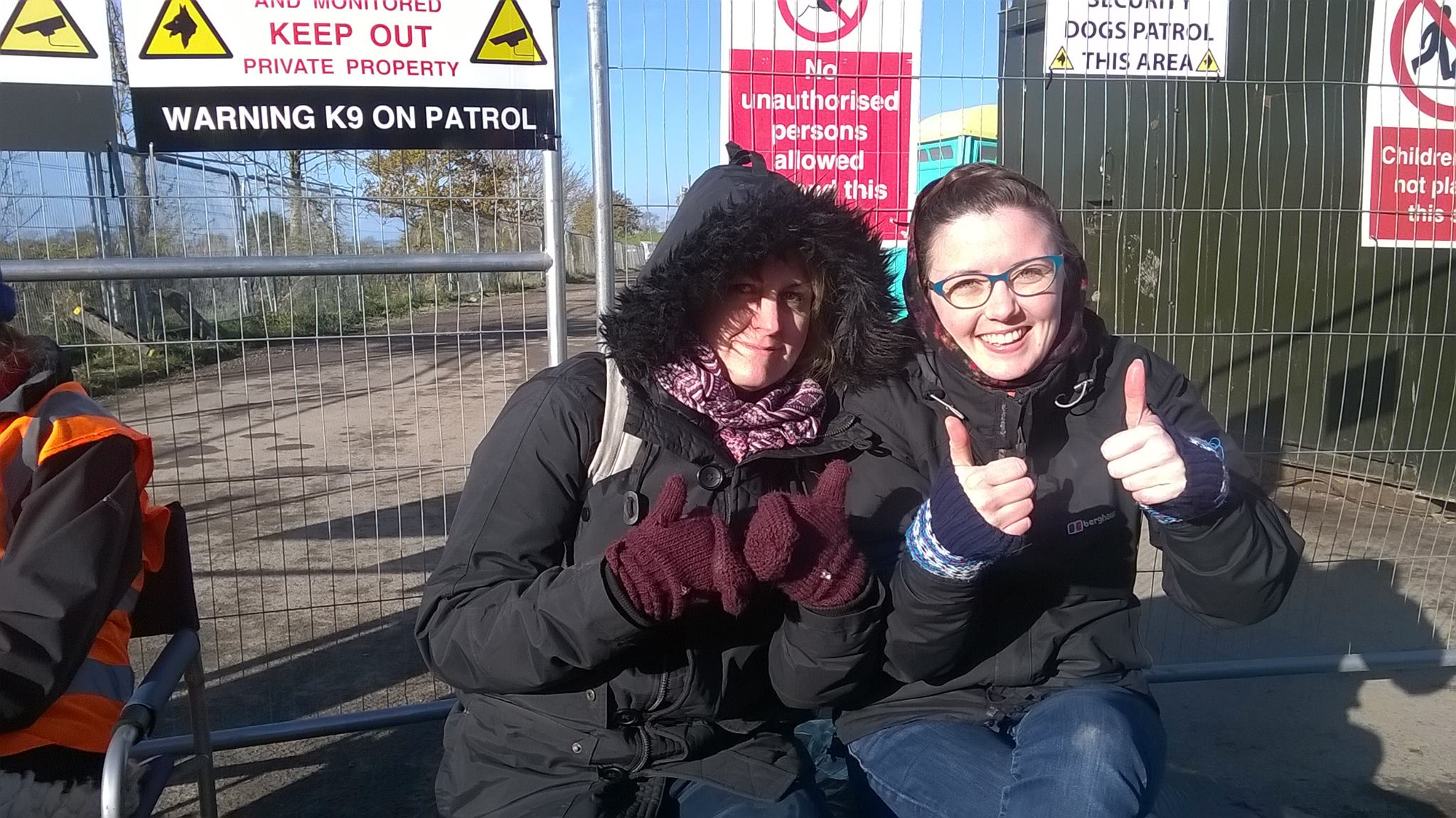 Myself and good friend theatre director Nat Quatermass giving the thumbs up for the anti-fracking movement outside the gates of KM8.