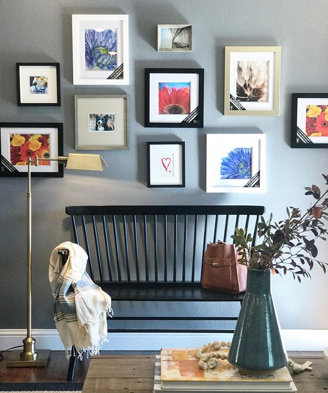 Sweet little install today at this cute family's house.  This gallery wall really warmed up their large entry.  Now it's ready to be filled with some pretty little faces!  If you saw the stories you know that no ladder is needed when @ragsdale6 is around for installs 😂