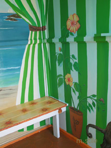 Bench design with hibiscus wall design