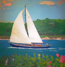 Stage Three - I USED A PHOTOGRAPH IN ORDER TO PAINT THIS SAILBOAT IMAGE. THERE ARE ALWAYS REQUESTS FOR PERSONALIZED DETAILS IN MY MURALS WHICH I TRY TO INCORPORATE INTO THE OVERALL DESIGN.