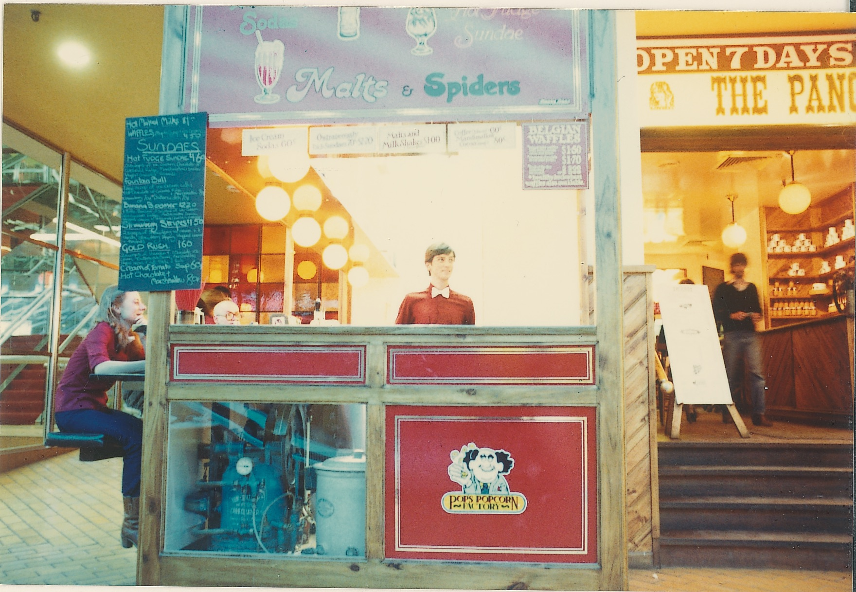 The Soda Fountain stand. Introduced in 1980, it was situated right outside of our Bourke Street restaurant. Serving up drinks, ice-cream & hotdogs, some of the items are still on our menu today!