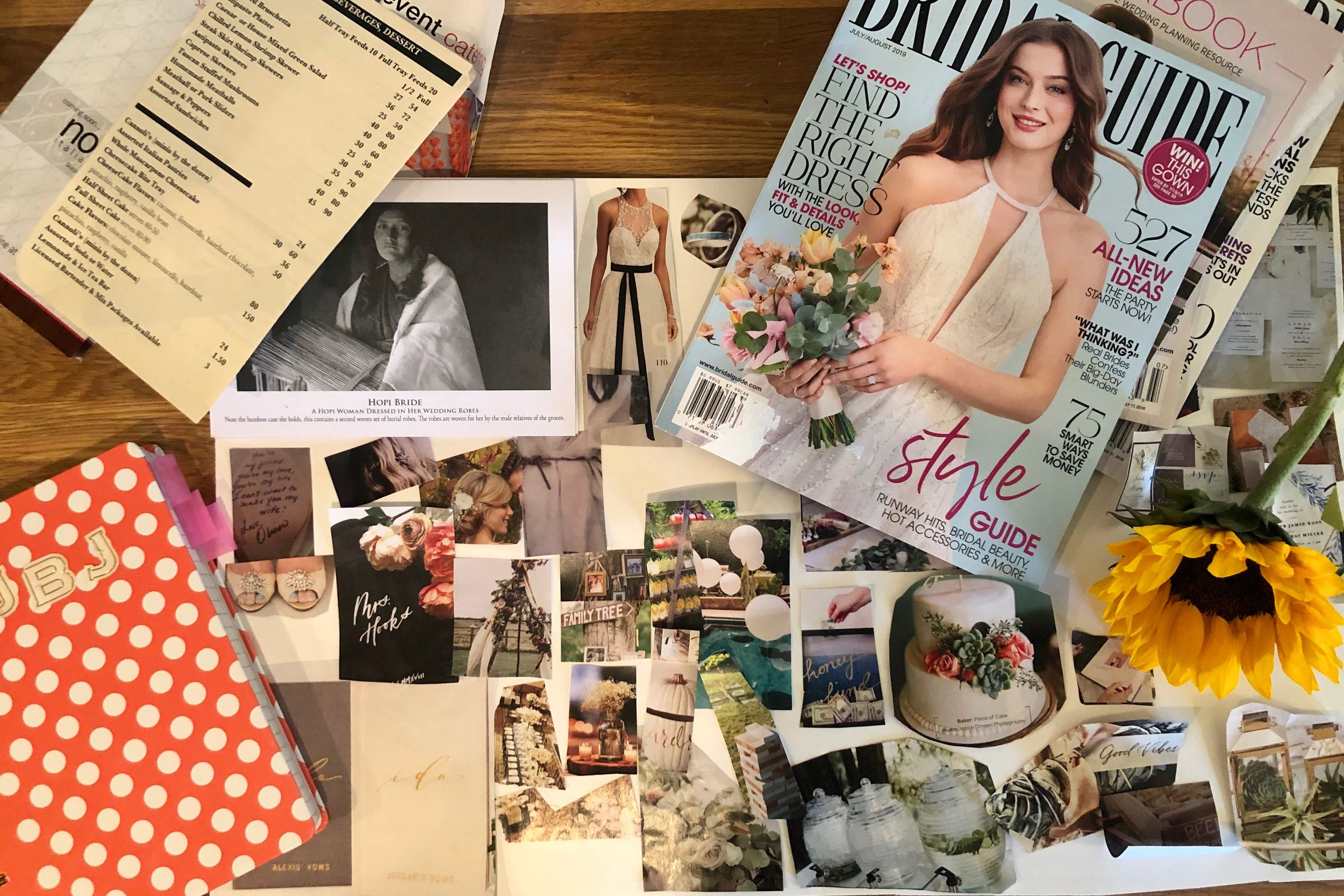 Wedding Planning Flatlay Vision Board