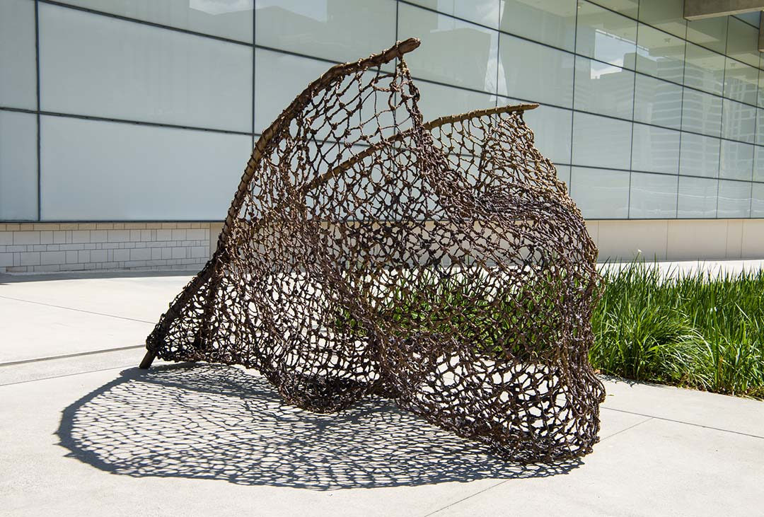 tow row 2016   Waanyi people, Australia b.1959  Bronze, 193 x 175 x 300cm (approx.)  Commissioned 2016 to mark the tenth anniversary of the opening of the Gallery of Modern Art. This project has been realised with generous support from the Queensland Government, the Neilson Foundation and Cathryn Mittelheuser AM through the Queensland Art Gallery | Gallery of Modern Art Foundation  Collection: Queensland Art Gallery  © Judy Watson  Photograph: Natasha Harth, QAGOMA