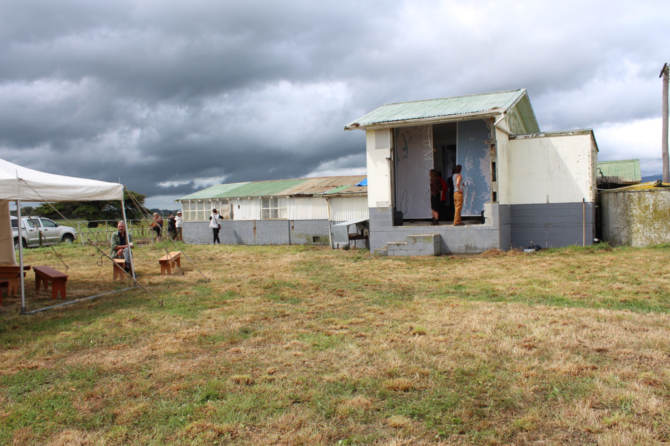 Exhibition of Kei Uta's work. Hīkoi shed, Kuku, Horowhenua, 2017.