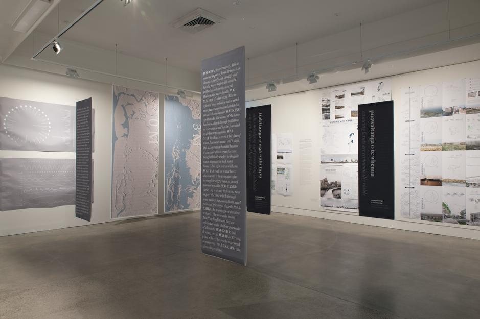 Final 'Whakatairangitia: Rere ki Uta, Rere ki Tai' iteration in the Dowse Art Museum, featuring aspects of artworks, masters student work and key Kuku exhibition elements, 2017.