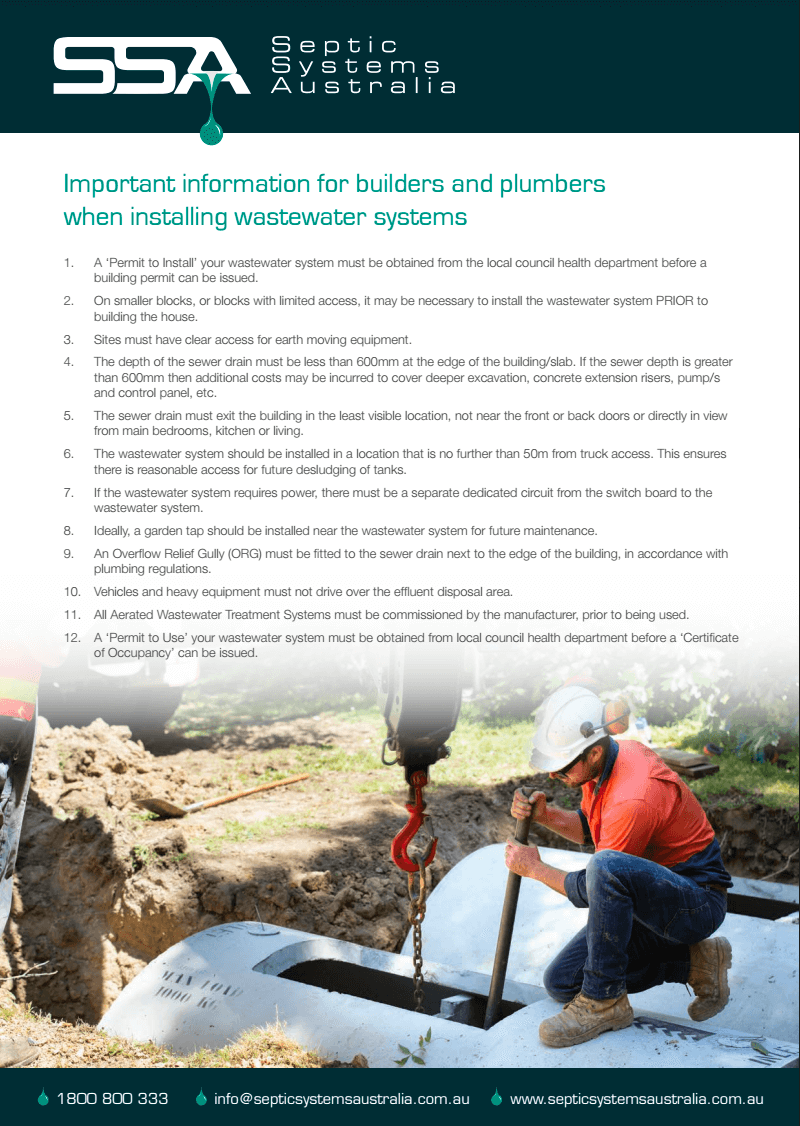 Important information for builders and plumbers when installing wastewater systems