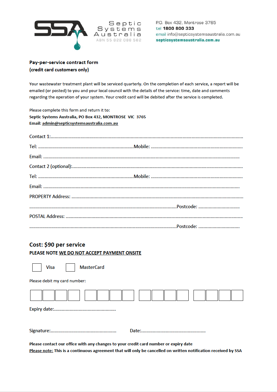 Pay per service contract form